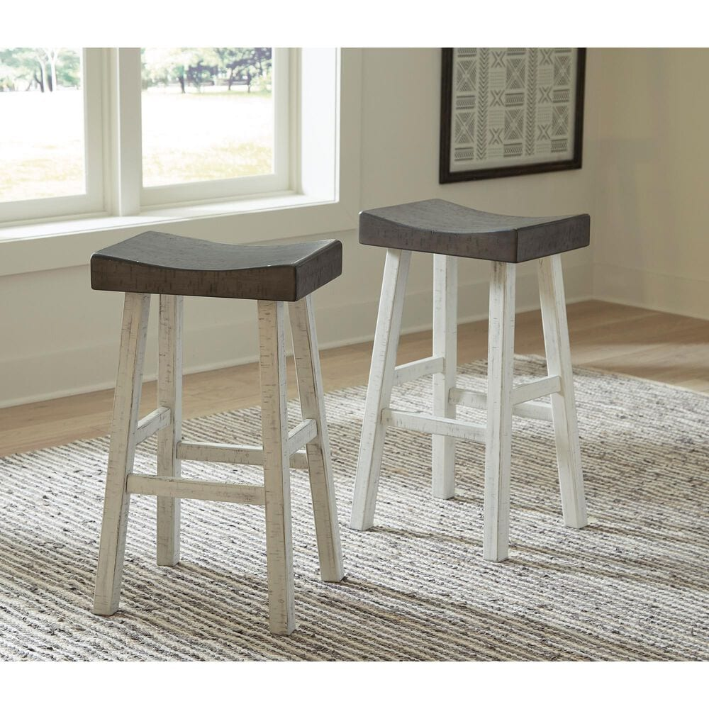 Signature Design by Ashley Glosco Tall Stool in Antique White and Medium Brown, , large