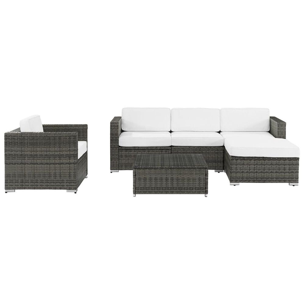 Crosley Furniture Sea Island 6-Piece Wicker Sectional and Chair Set in Grey, , large