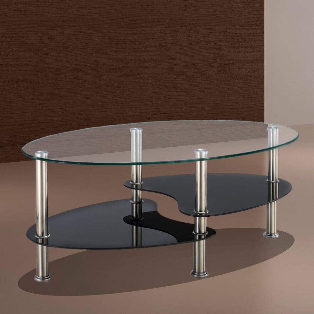 Titanic Furniture Glass and Chrome Coffee Table in Black and Clear, , large