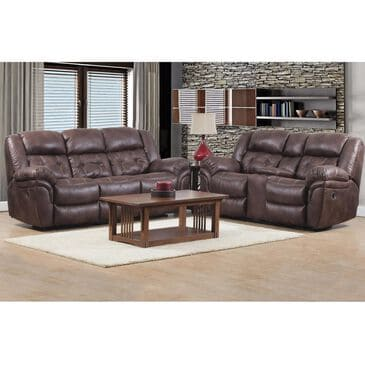 HomeStretch Reclining Sofa and Loveseat in Chocolate, , large