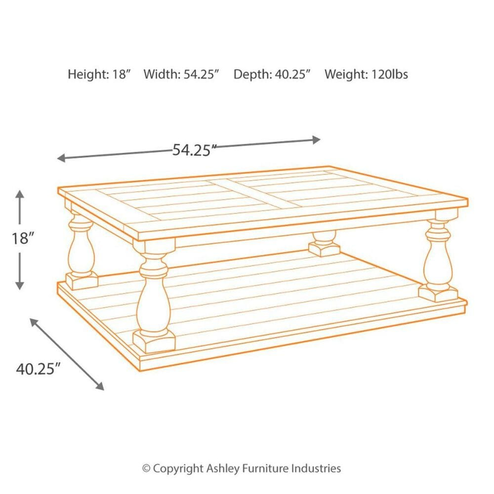 Signature Design by Ashley Mallacar Rectangular Cocktail Table in Black, , large