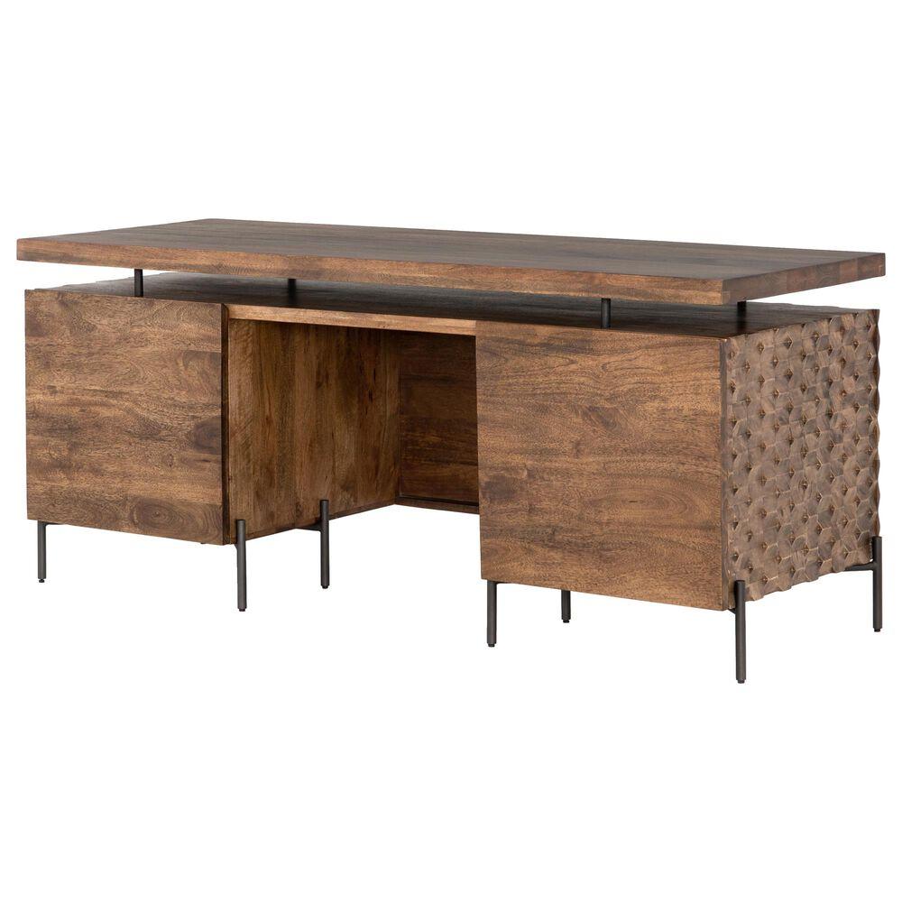 Four Hands Fallon Raffael Desk in Antique Brown and Gunmetal, , large