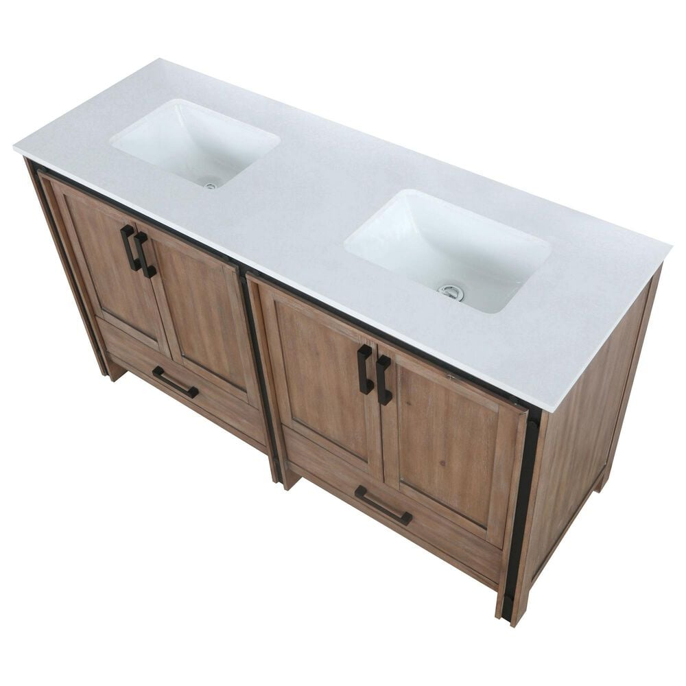 """Lexora Home Ziva 60"""" Double Bathroom Vanity in Rustic Barnwood with White Cultured Marble Top and Rectangle Sinks, , large"""