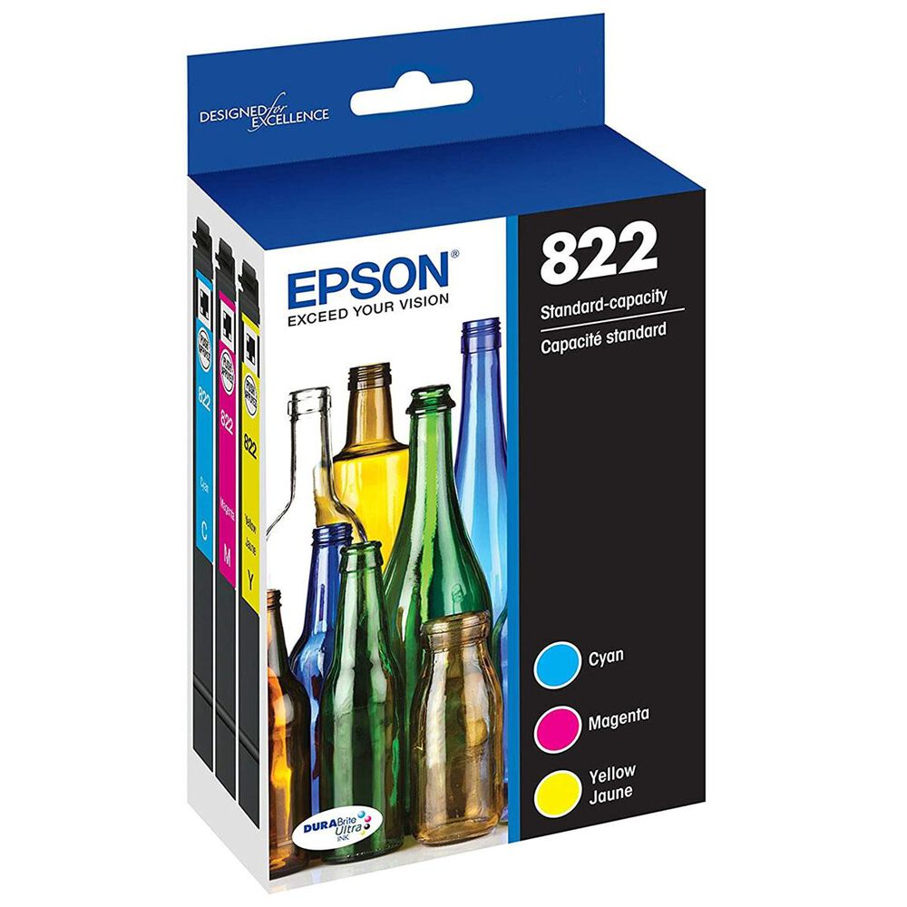 Epson T822 Standard Capacity Ink Cartridge 3-Pack in Cyan, Magenta and Yellow, , large