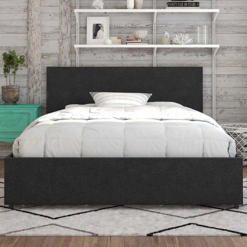 Novogratz Kelly Queen Upholstered Storage Bed in Dark Gray Linen, , large