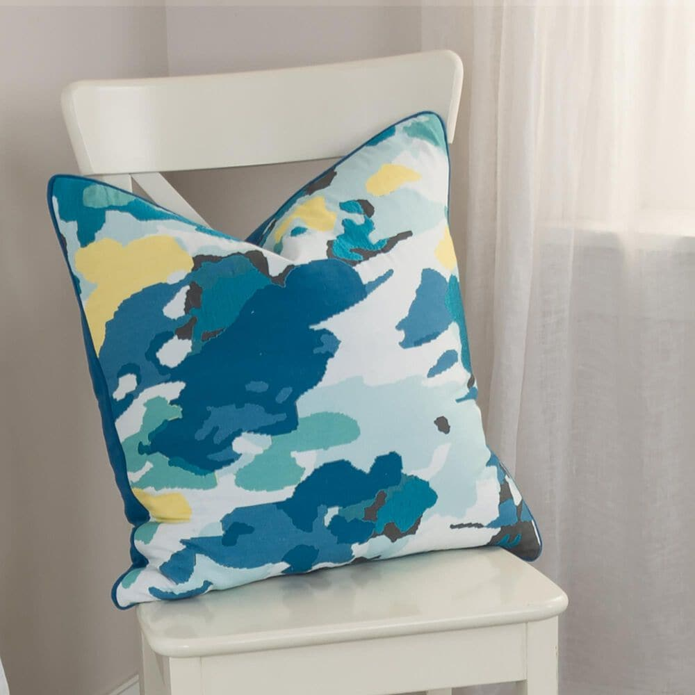 """Rizzy Home Connie Post 20"""" Down Filled Pillow in Teal, , large"""