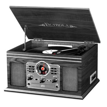 Victrola 6-in-1 Nostalgic Bluetooth Record Player with 3-speed Turntable with CD and Cassette - Graphite, , large