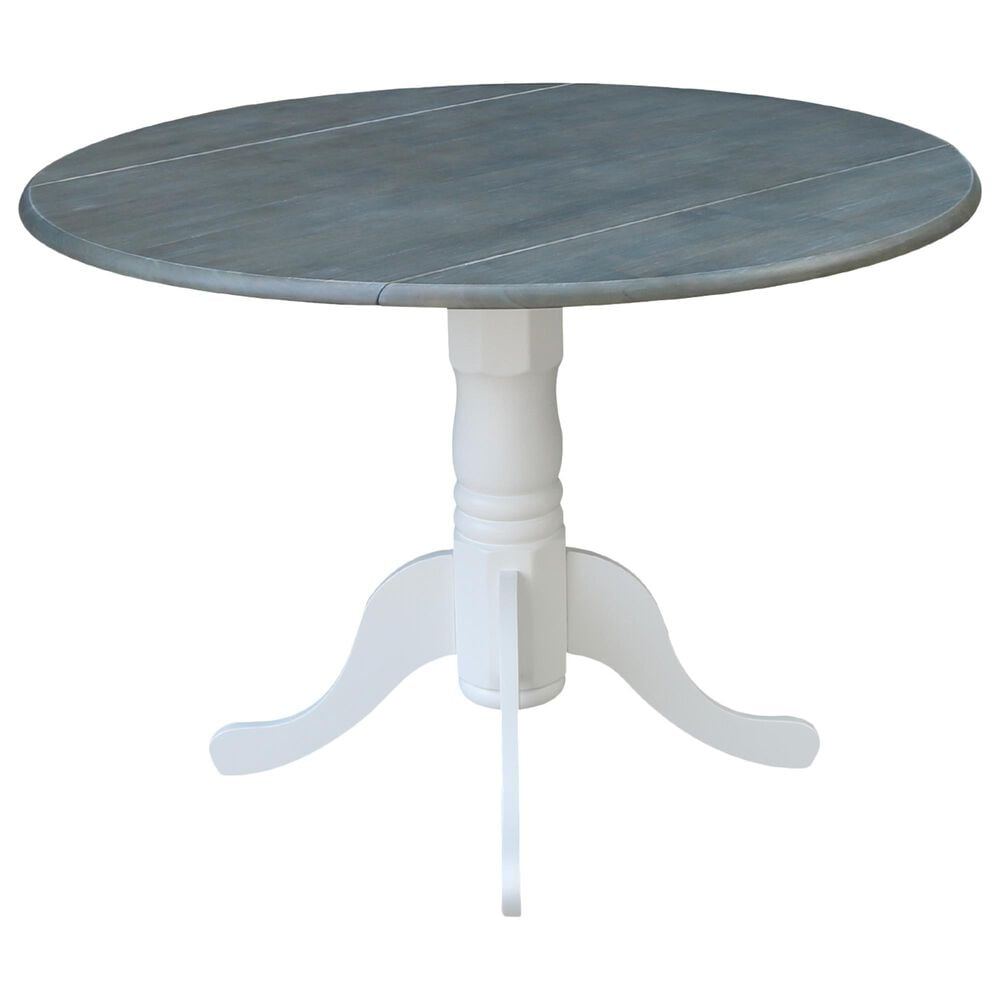 """International Concepts 42"""" Modern Farmhouse Casual Round Drop Leaf Dining Table in White/Heather Gray, , large"""