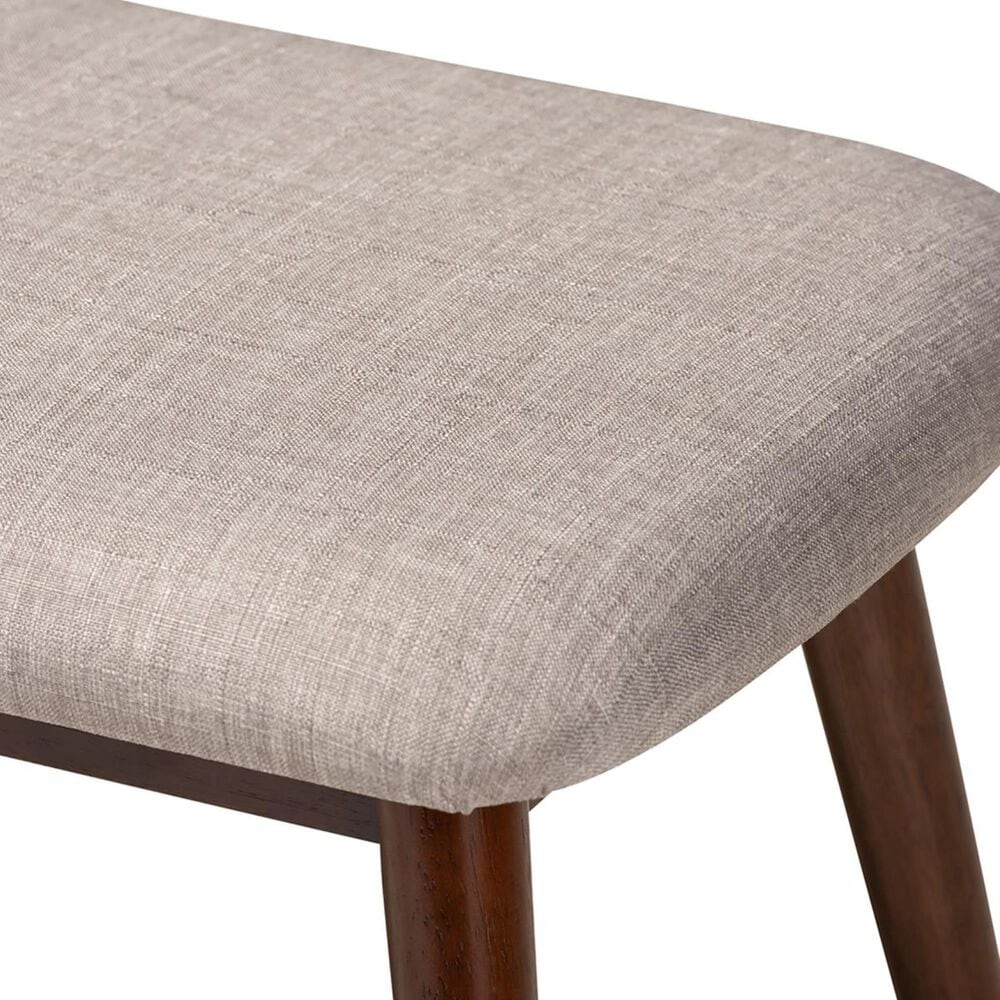 Baxton Studio Flora Upholstered Dining Bench in Light Gray and Walnut, , large