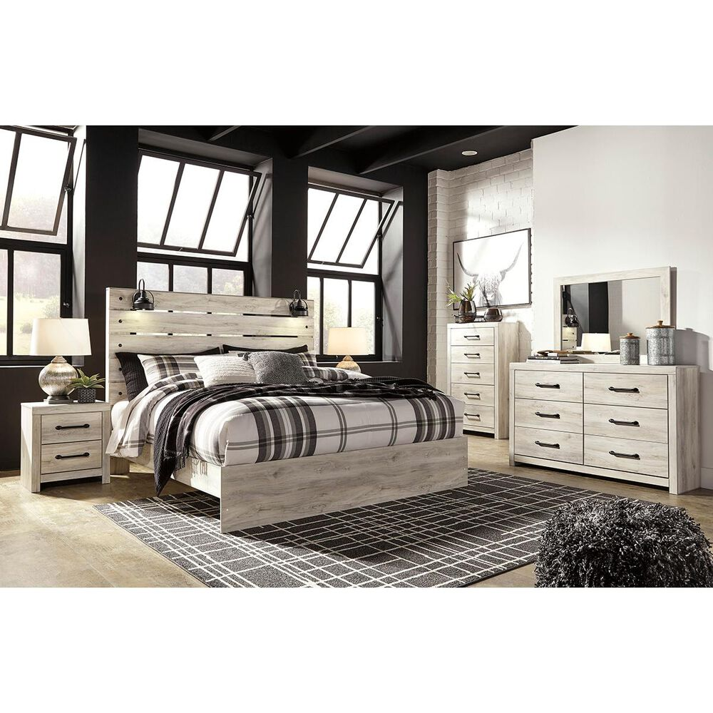 Signature Design by Ashley Cambeck 5 Piece King Bed Set in Whitewash with Lighting, , large