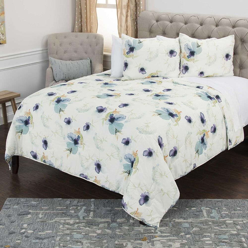 """Rizzy Home Catrine 70"""" x 86"""" Quilt Set in Blue, , large"""