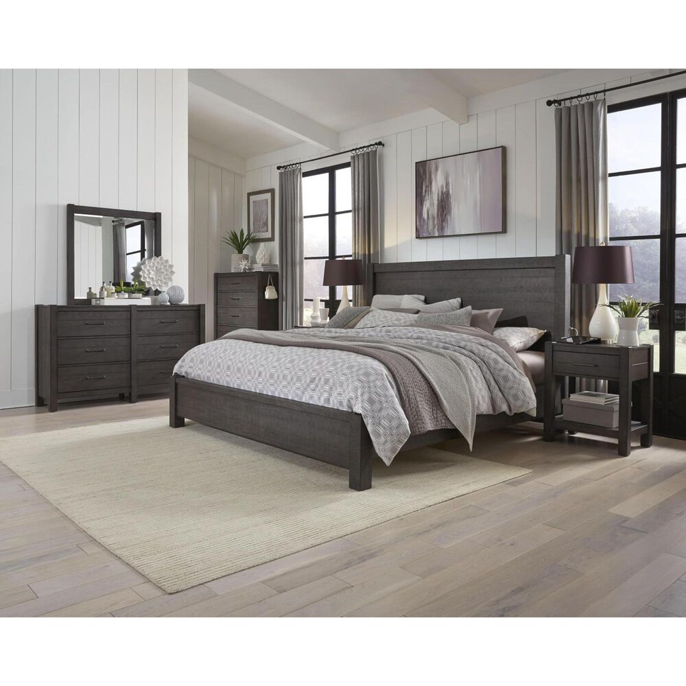 Riva Ridge Mill Creek 4 Piece Queen Low Profile Bed Set with 2-Drawer Nightstand in Carob, , large