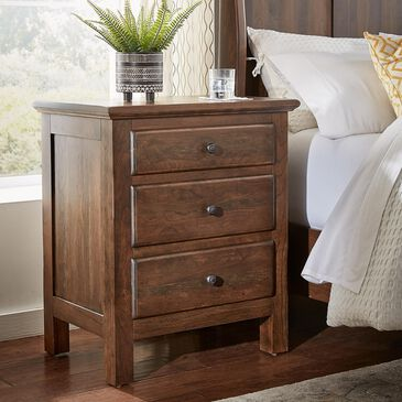 Daniel's Amish Collection Lewiston 3 Drawer Nightstand in Distressed Cherry, , large