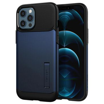 Spigen Slim Armor Case For Apple iPhone 12 Pro Max in Navy Blue, , large