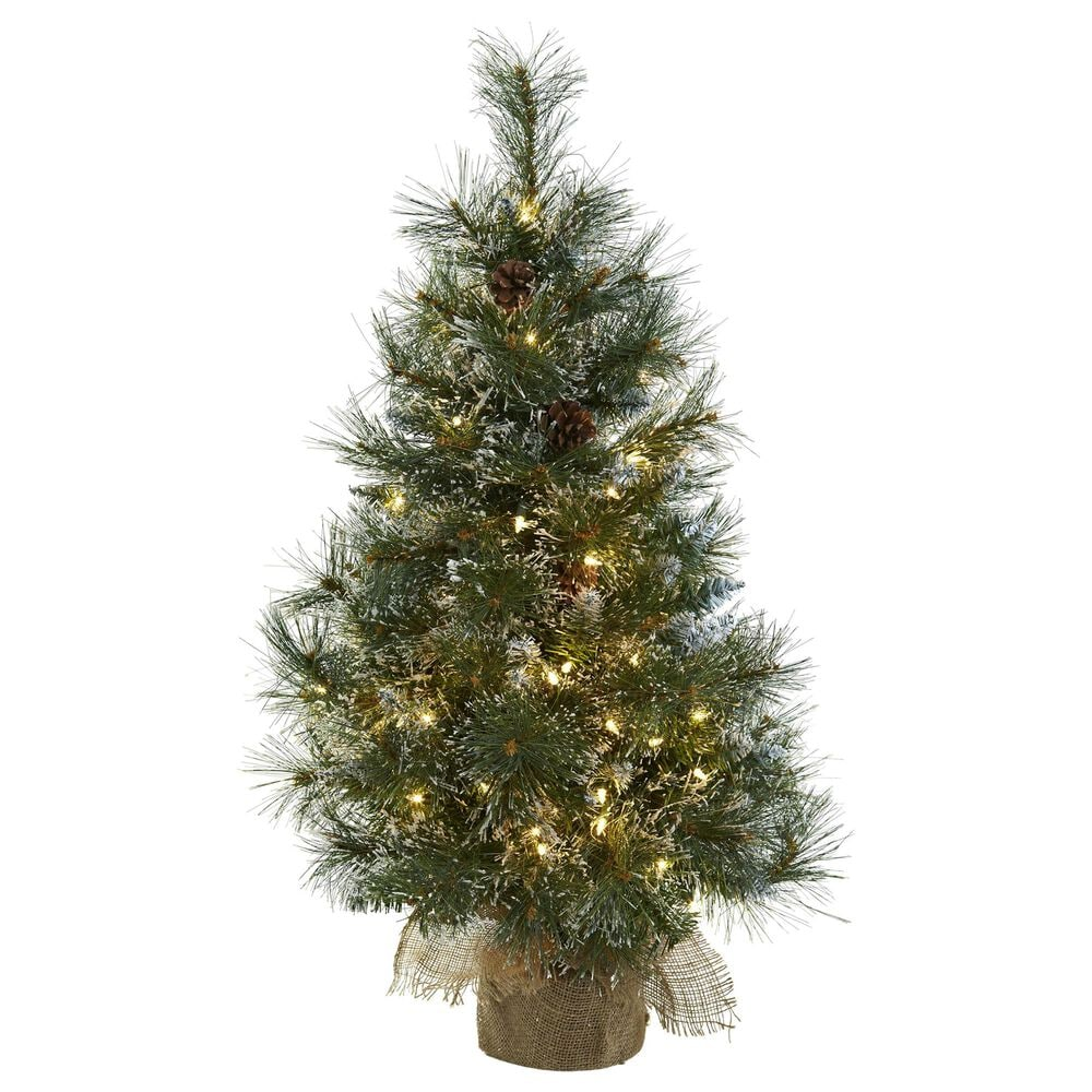 Nearly Natural Inc 3' Christmas Tree with White Lights, Frosted Tips, Pine Cones & Burlap Bag, , large