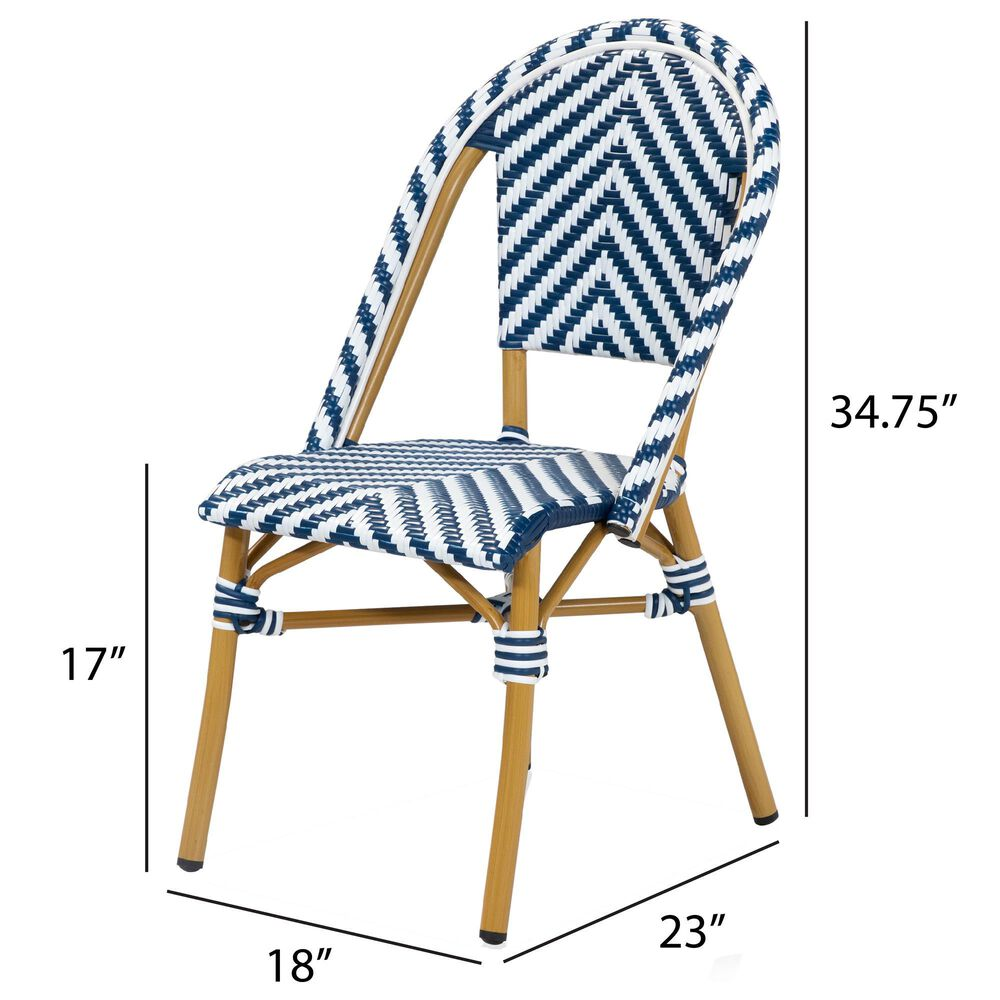 Furniture of America Lam Patio Dining Chair in Blue/White (Set of 2), , large