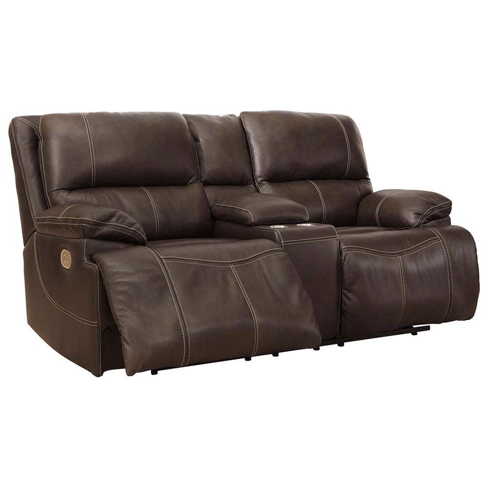 Signature Design By Ashley Ricmen Leather Power Reclining Loveseat With Headrest In Walnut Nebraska Furniture Mart
