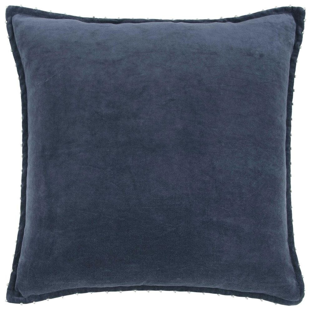 """Rizzy Home 22"""" x 22"""" Poly-Fill Pillow in Indigo, , large"""