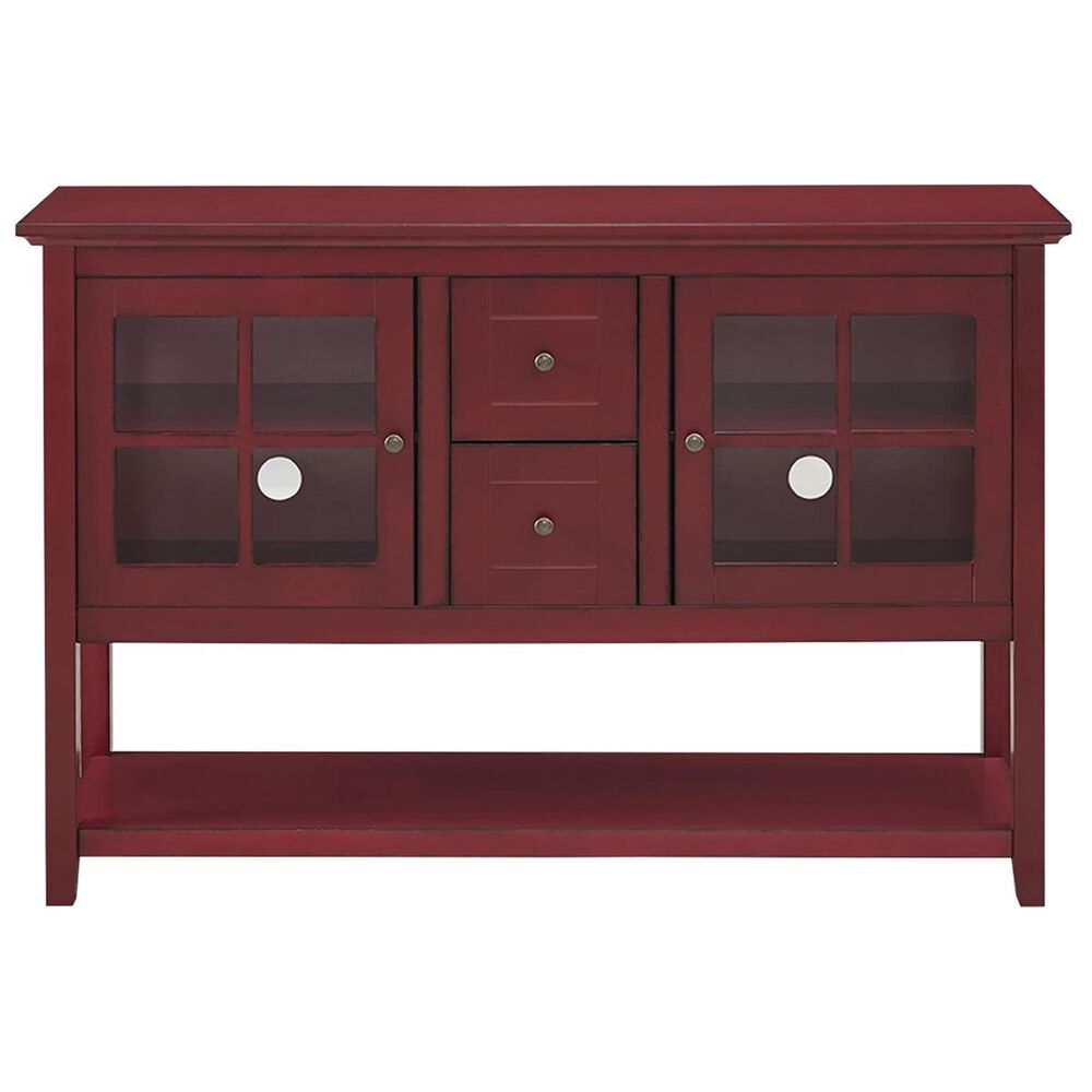"""Walker Edison 52"""" Wood Console Table TV Stand in Antique Red, , large"""