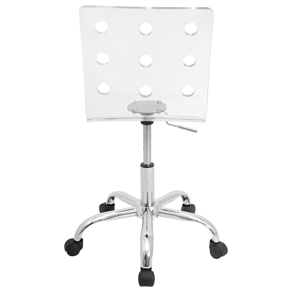 Lumisource Swiss Adjustable Swivel Office Chair in Clear/Chrome, , large