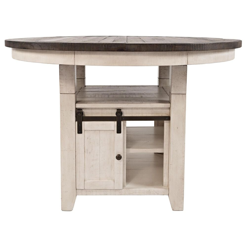 Waltham Madison County Adjustable Height Round Dining Table in Vintage White - Table Only, , large