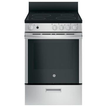 """GE Appliances 24"""" Smooth Top Electric Range with Steam Clean in Stainless Steel, , large"""