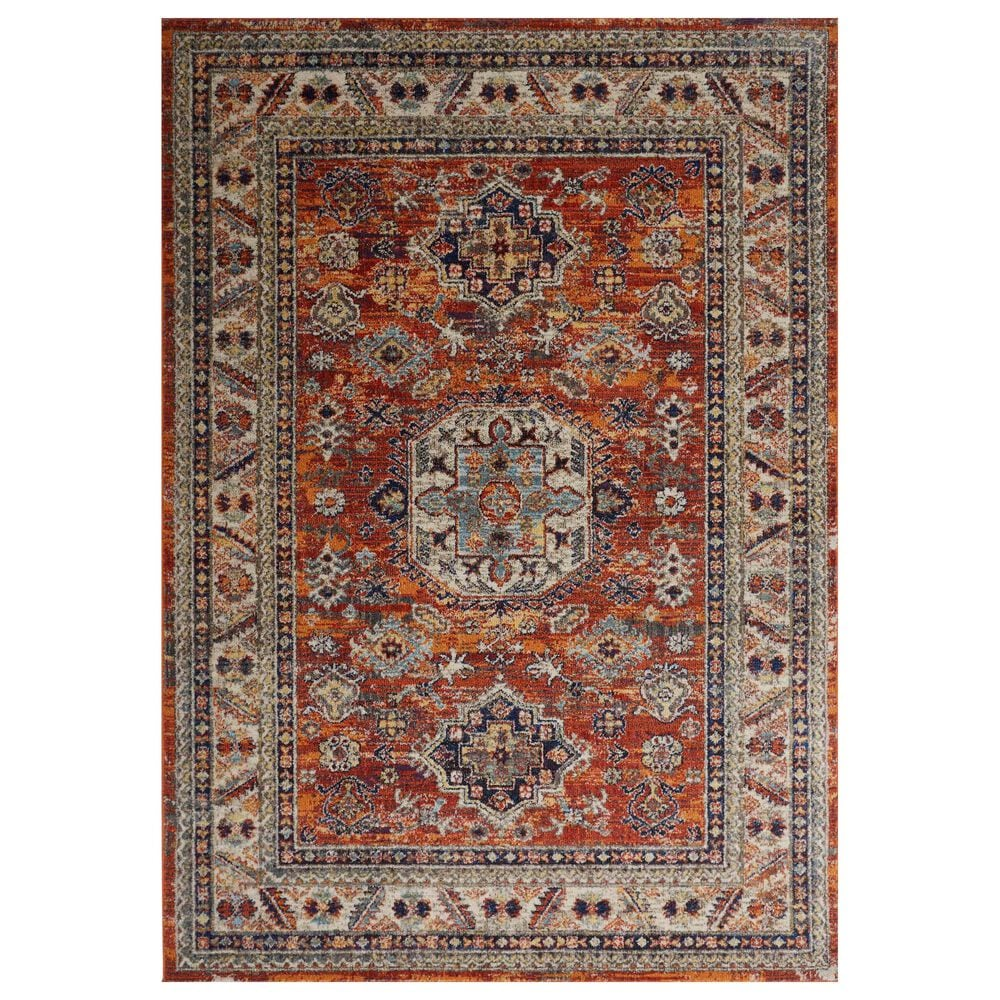 Feizy Rugs Bellini 2' x 3' Orange and Blue Area Rug, , large