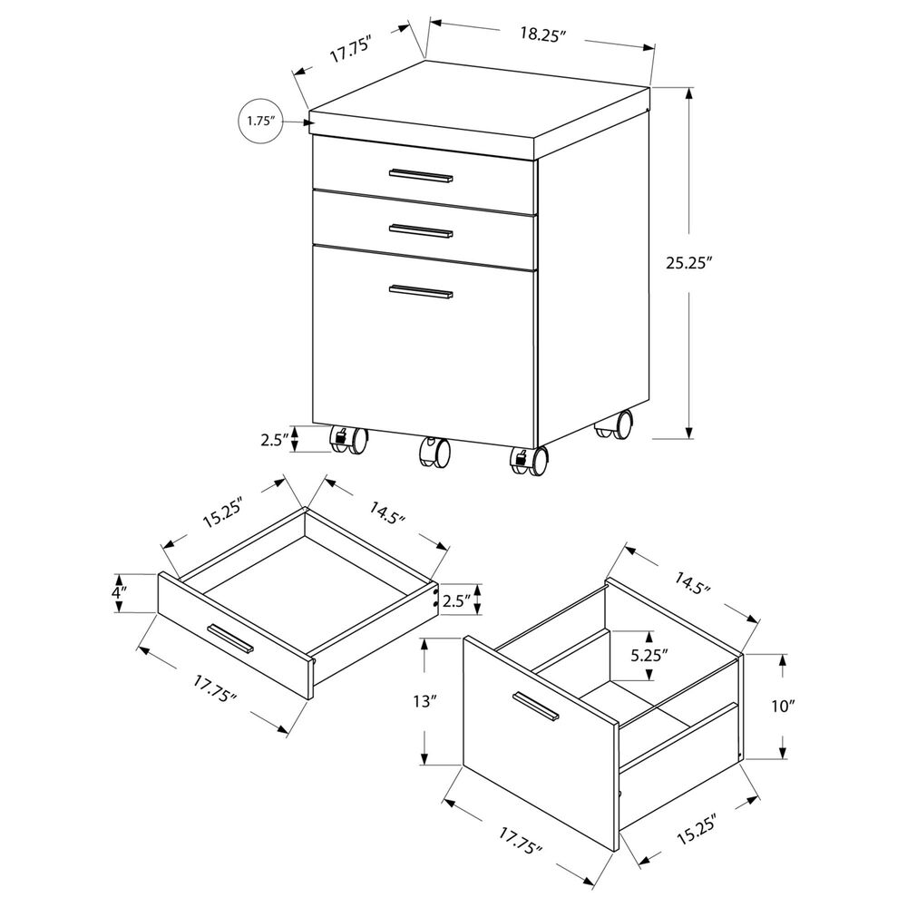 Monarch Specialties 3-Drawer File Cabinet in White, , large