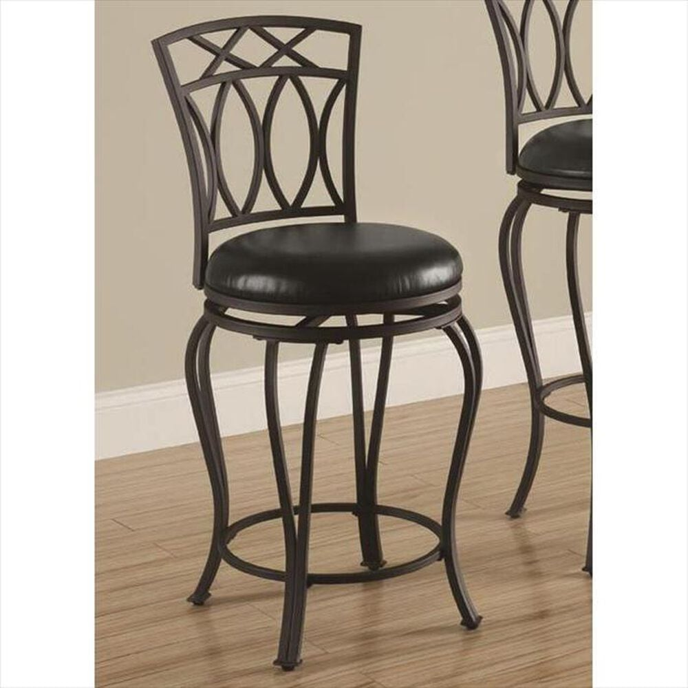 Pacific Landing Black Counter Stool with Faux Leather Seat, , large