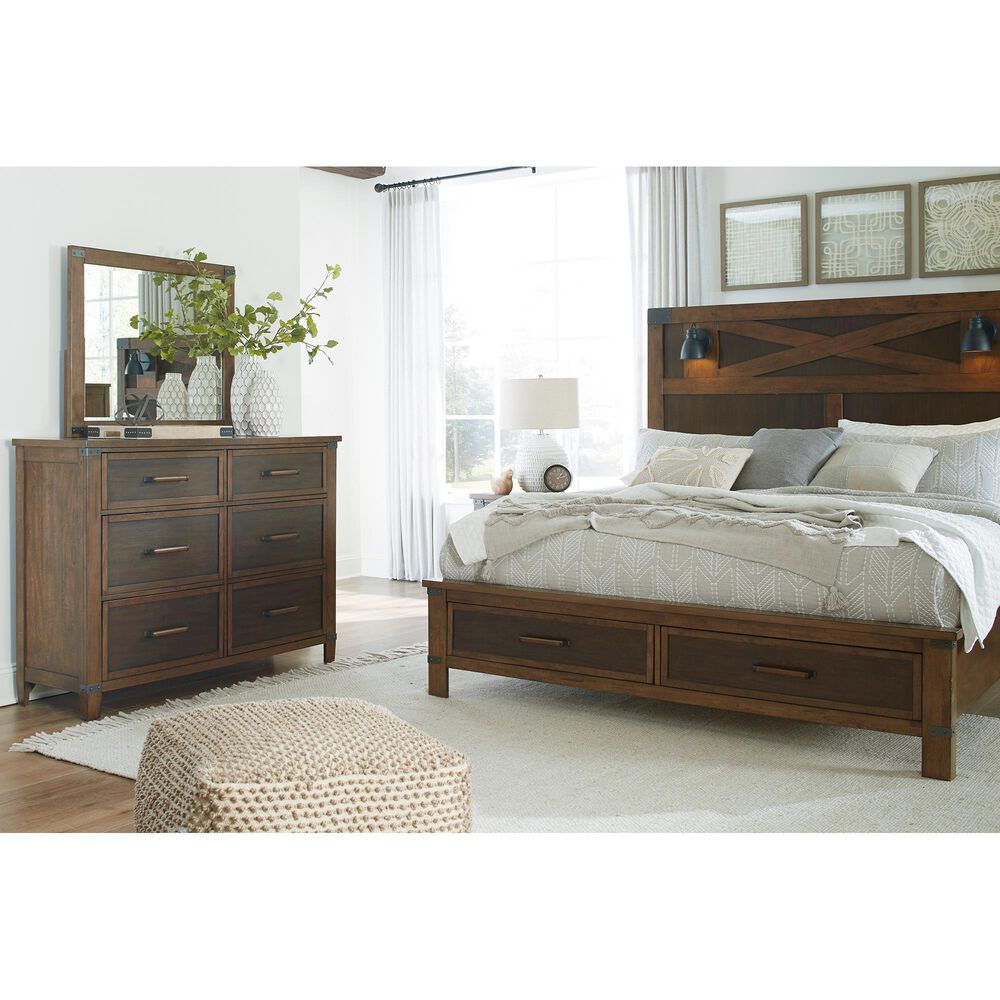 Signature Design by Ashley Wyattfield King Storage Bed in Walnut Brown and Dark Burnt Umber, , large