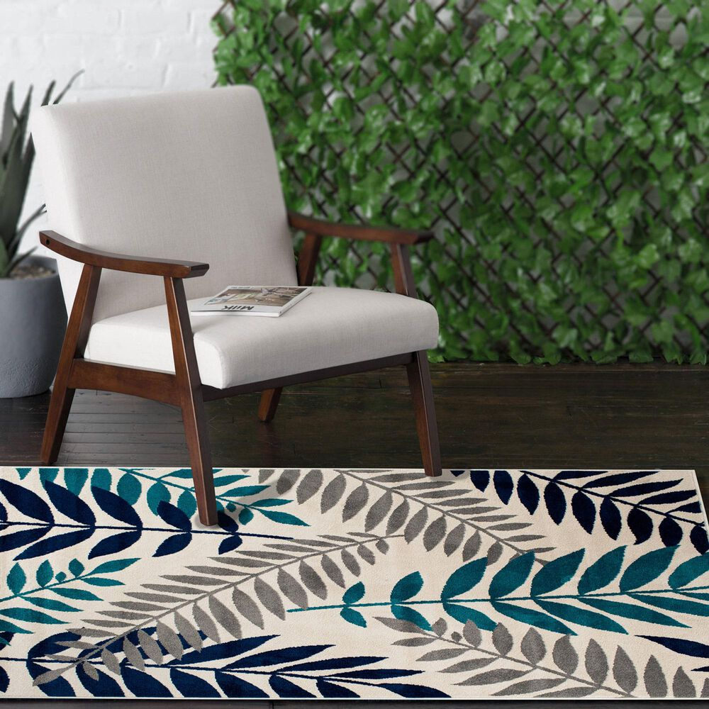 """Central Oriental Terrace Tropic Blythewood 2304NPEC.084 3'3"""" x 5' Cloud and Metal Area Rug, , large"""