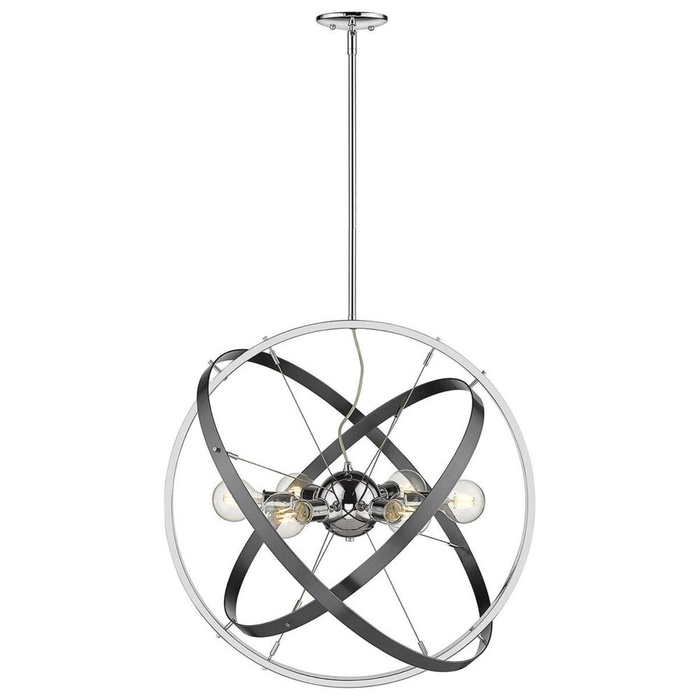 Golden Lighting Atom 6-Light Chandelier in Chrome with Black Brushed Steel Accent Rings, , large