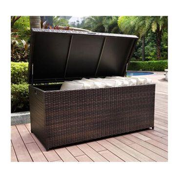 Firefly Palm Harbor Outdoor Wicker Storage Deck Box in Dark Brown, , large