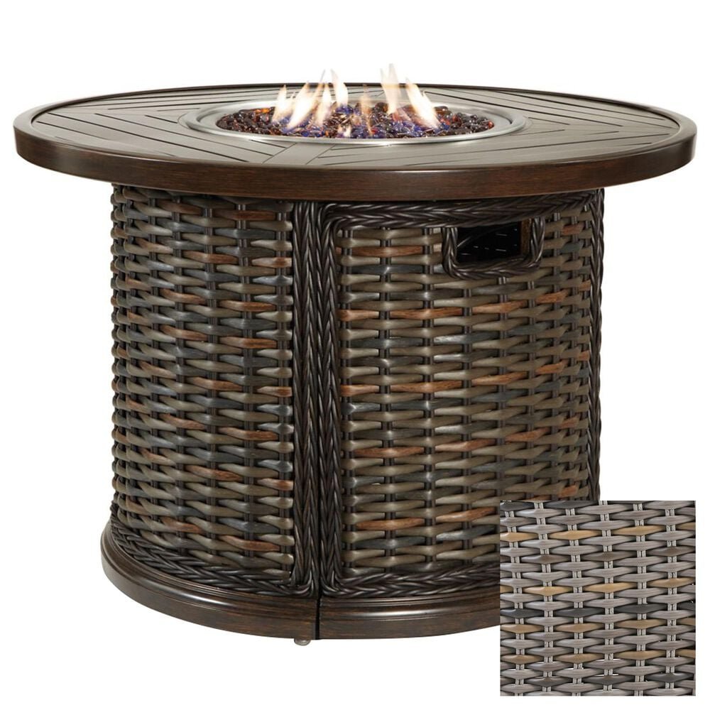 """Venture South Hampton 42"""" Round Gas Fire Pit in Sandalwood, , large"""
