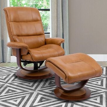 Simeon Collection Leather Swivel Recliner and Ottoman in Butterscotch, , large