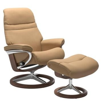 Ekornes Sunrise Leather Chair and Ottoman in Paloma Sand and Walnut, , large