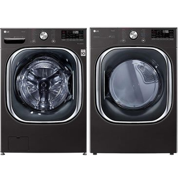 LG 5.0 Cu. Ft. Front Load Washer and 7.4 Cu. Ft. Gas Dryer Laundry Pair in Black Steel, , large