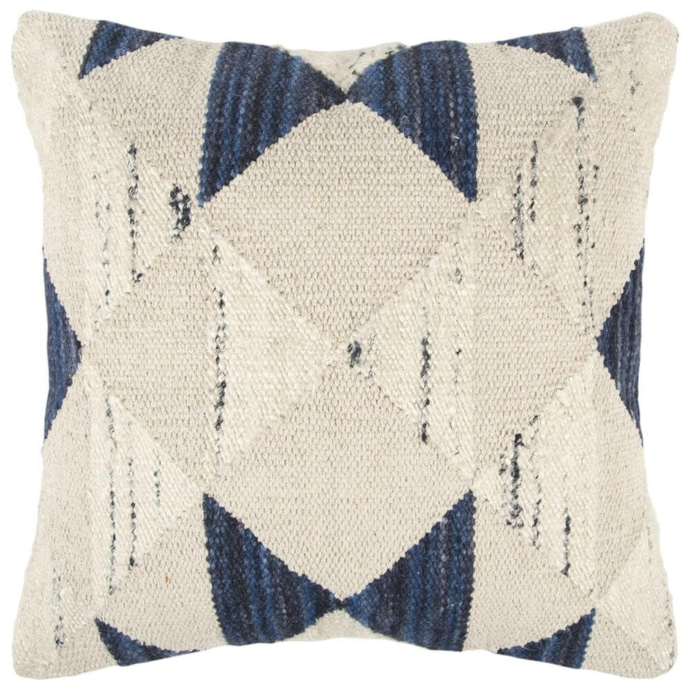 """Rizzy Home 20"""" x 20"""" Pillow Cover in Beige and Indigo, , large"""