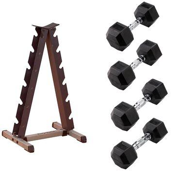 Body Solid 15lb - 30lb Rubber Hex Dumbbell Set in Black with Vertical Dumbbell Rack, , large