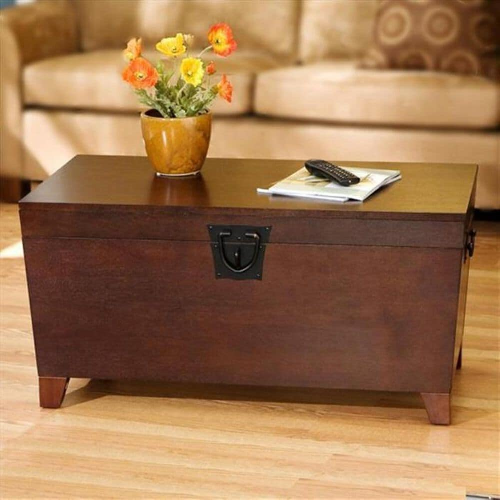 Southern Enterprises Pyramid Trunk Coffee Table in Espresso , , large