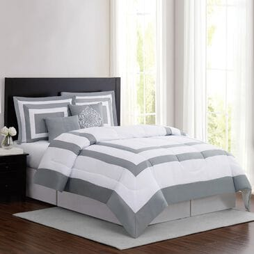 Pem America London Fog Raynes Hotel 5-Piece Queen Comforter Set in White and Grey, , large