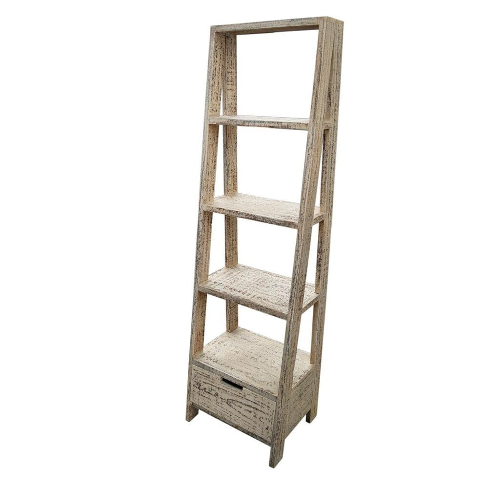Santa Fe Rustic Open Stair Bookcase in Grey, , large