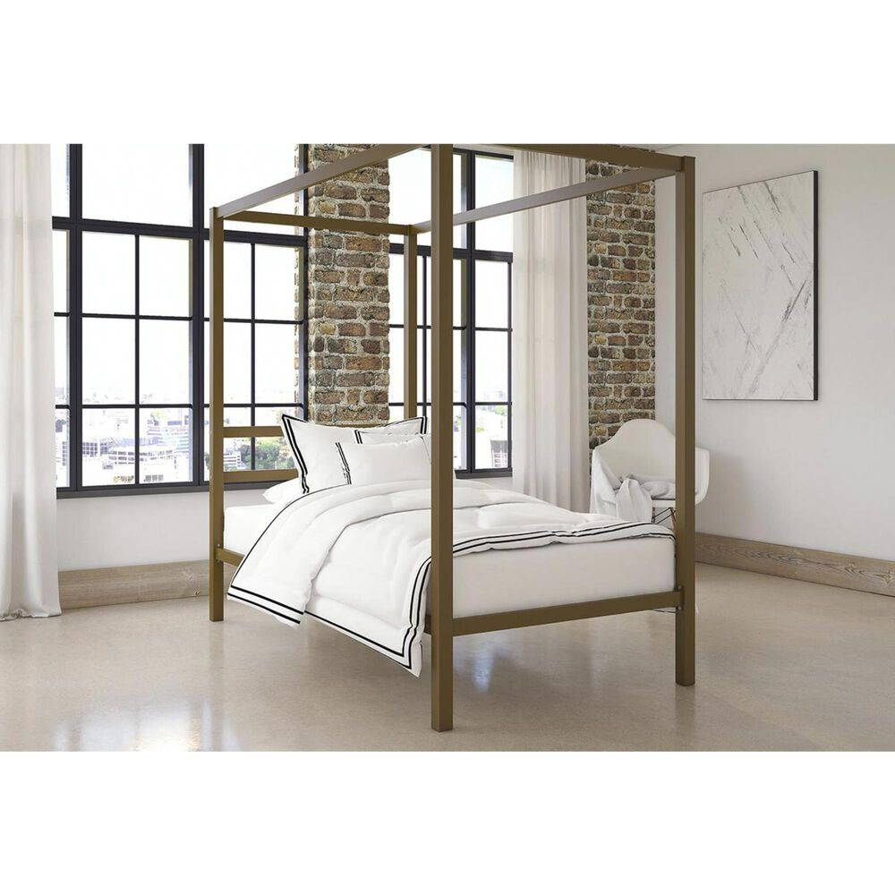 DHP DHP Twin Canopy Bed in Gold, , large
