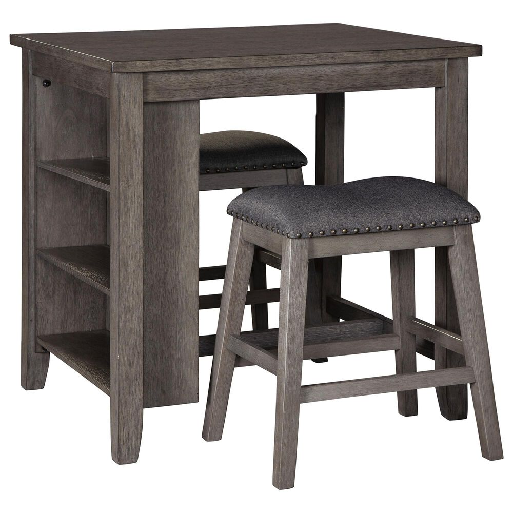 Signature Design by Ashley Caitbrook 3-Piece Counter Height Table Set in Antiqued Gray, , large