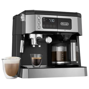 Delonghi All-In-One Cappuccino, Espresso with Coffee Maker in Black and Stainless Steel, , large