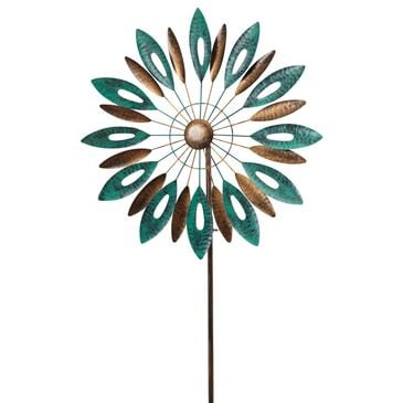"""The Gerson Company 72"""" Leaf Motif Wind Spinner Yard Stake in Grey, , large"""