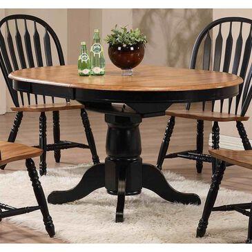 Radius Single Pedestal Dining Table in Deep Rustic Oak and Black, , large