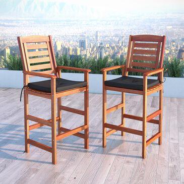 CorLiving Miramar Outdoor Bar Height Chair in Cinnamon Brown - Set of 2, , large