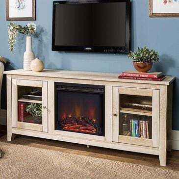 "Walker Edison 58"" Fireplace TV Stand with Doors in White Oak, , large"