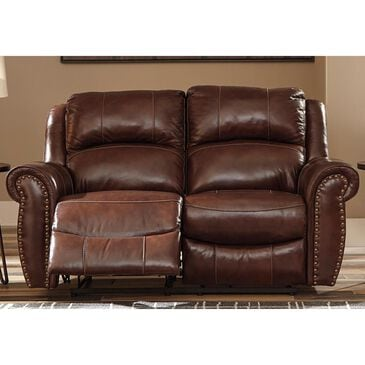 Signature Design by Ashley Bingen Leather Manual Reclining Loveseat in Harness, , large